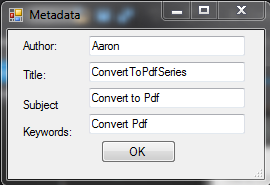Filled In Metadata Dialog