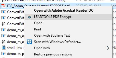 PDF Encrypter Explorer Integration Screenshot