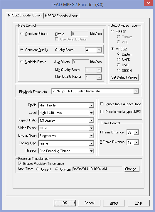 LEAD MPEG-2 Encoder User Interface (3 0) - Multimedia C DLL Filters Help