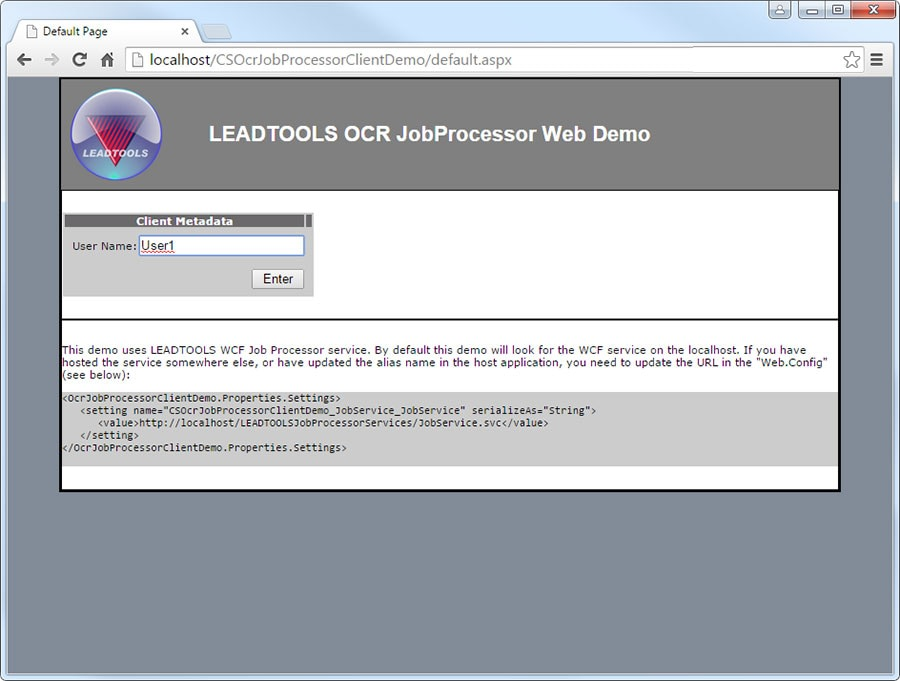 Job Processor Demo Login Screenshot